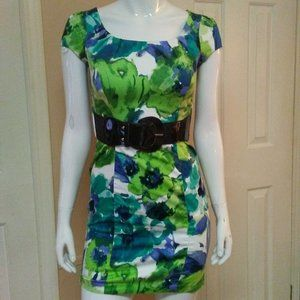 Iz Byer Belted Blue & Green Dress